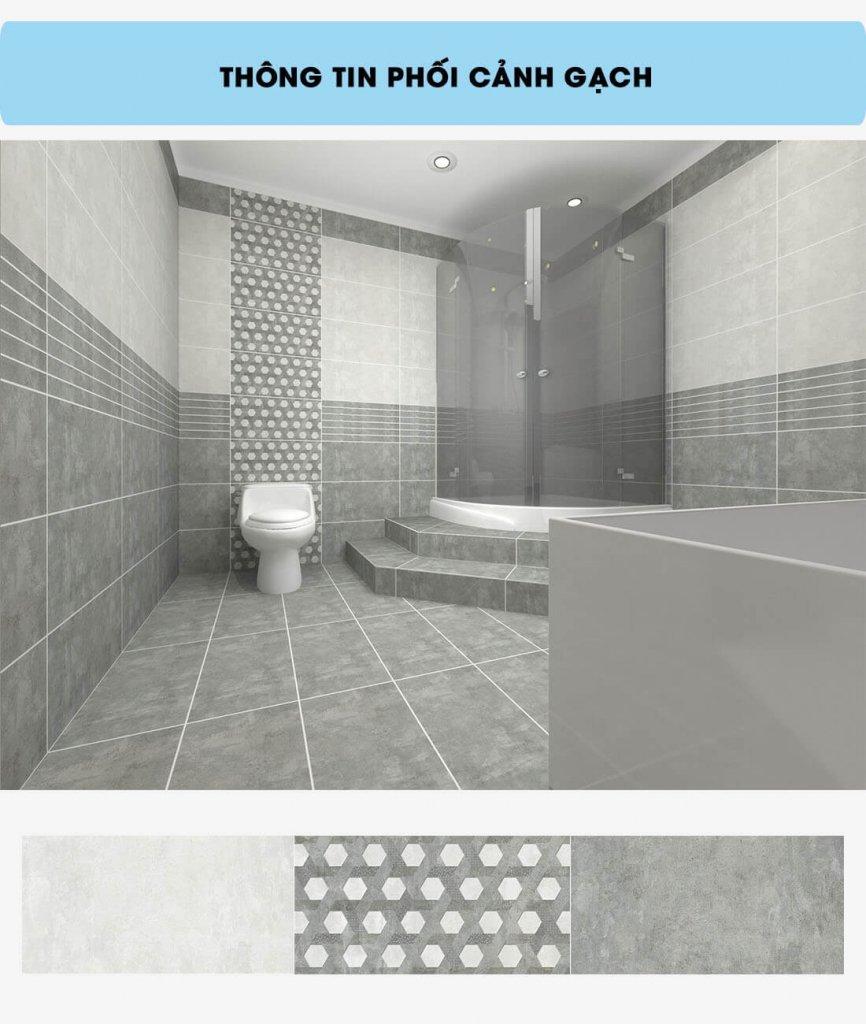 Phối cảnh gạch ốp tường nhà tắm
